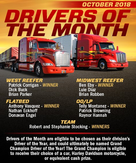 October 2018 Drivers of the Month