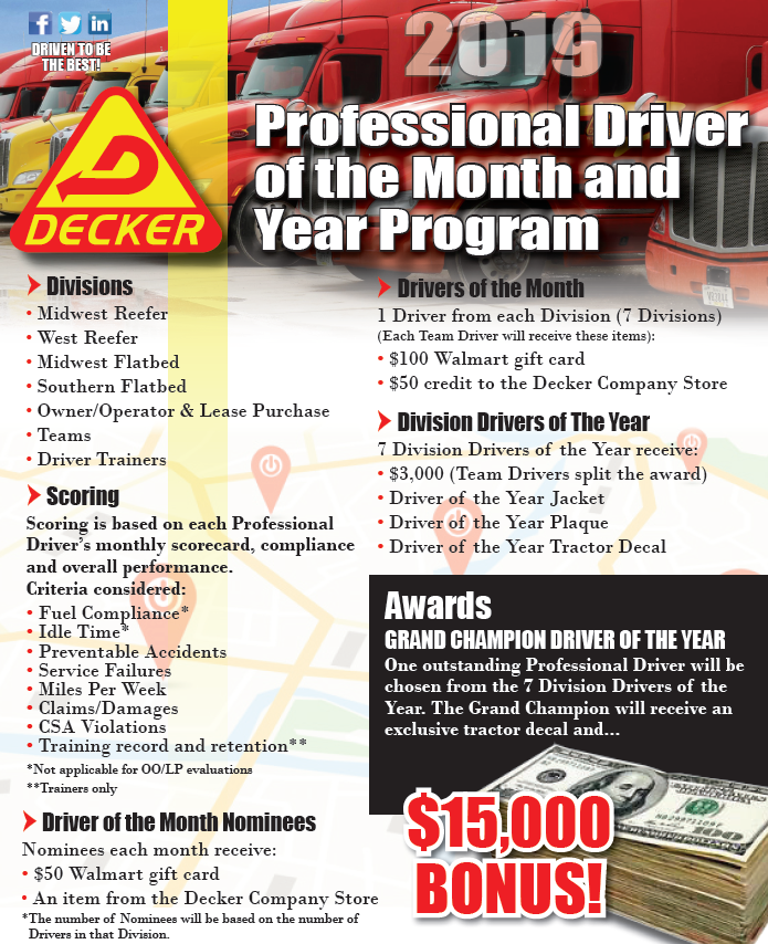 2019 Professional Driver of the Month and Professional Driver of the Year Program
