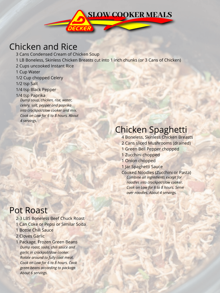 Chicken and Rice, Chicken Spaghetti and Pot Roast Slow cooker recipes