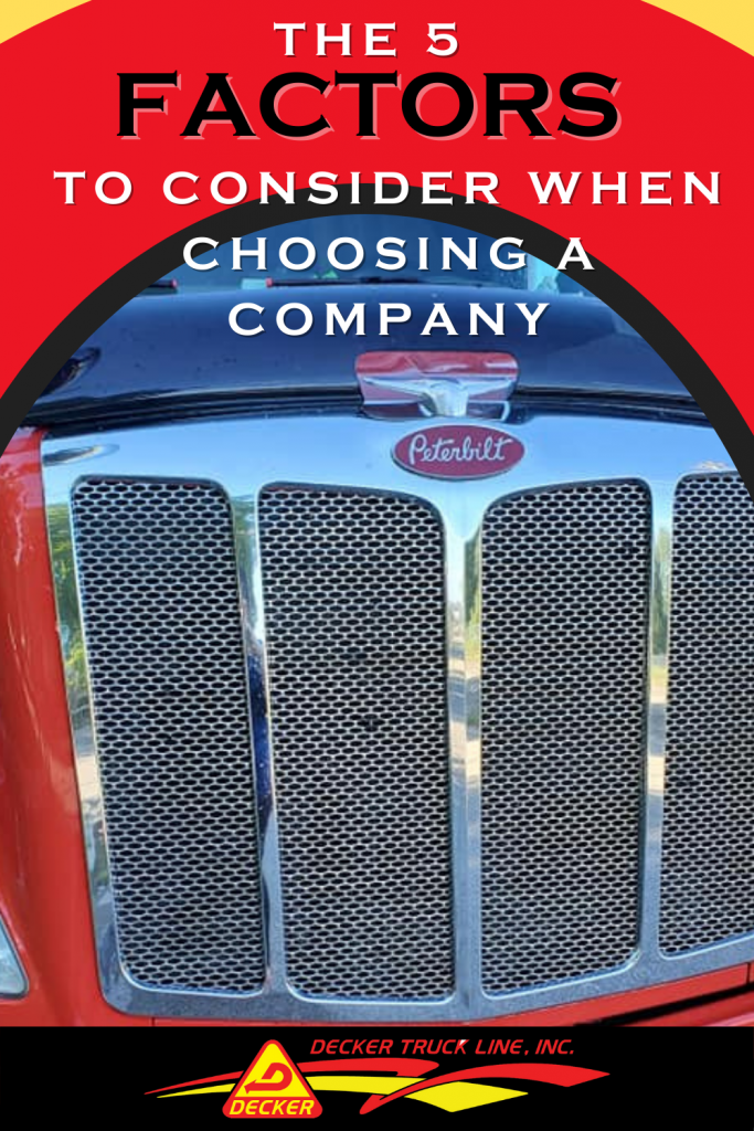 5 tips to consider when deciding what trucking company to work for. Choosing the best trucking company can not only  bring you home more money but offer you your preferred home time. #besttruckingcompany #trucking #truckingcompany #truckdriver #trucker #truckamenities #truckingaccessories #truckaccessories #truckerslife #lifeofatrucker #DeckerTruckLine  #trucks #logistics #Peterbilt #Semi #SemiTruck #truckingequipment
