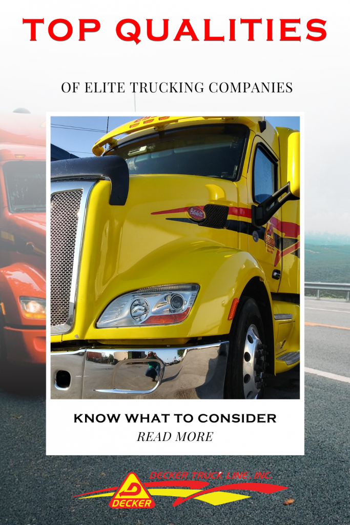 Top qualities of elite trucking companies. Here are 5 tips to consider when deciding what trucking company to work for. Choosing the best trucking company can not only  bring you home more money but offer you your preferred home time. #besttruckingcompany #trucking #truckingcompany #truckdriver #trucker #truckamenities #truckingaccessories #truckaccessories #truckerslife #lifeofatrucker #DeckerTruckLine  #trucks #logistics #Peterbilt #Semi #SemiTruck #truckingequipment