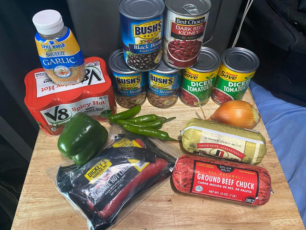 Ingredients for cooking truck'd up chili on the road in the truck or if you prefer to prep your meals before going over the road. Here are the basic ingredients, feel free to add more kick if you like.